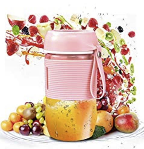 Portable Blender, Personal Blender Juicer Cup, Cordless Mini Personal Fruit Maker Blender Cup with USB Rechargeable, 400ml Large Capacity for Home, Office, Sports, Travel, Picnic(Cherry Pink)